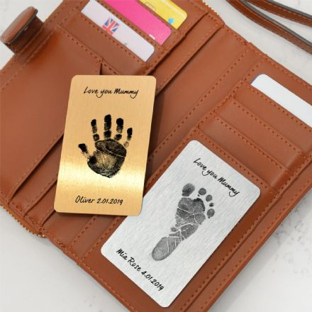 Personalised Hand Or Foot Print Wallet Metal Cards